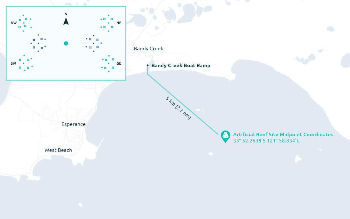 Map of Esperance artificial reef.