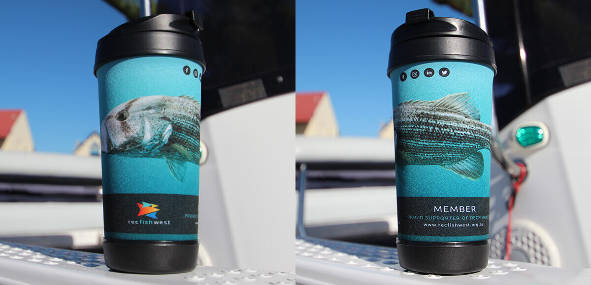 Travel mug with fish on a blue background