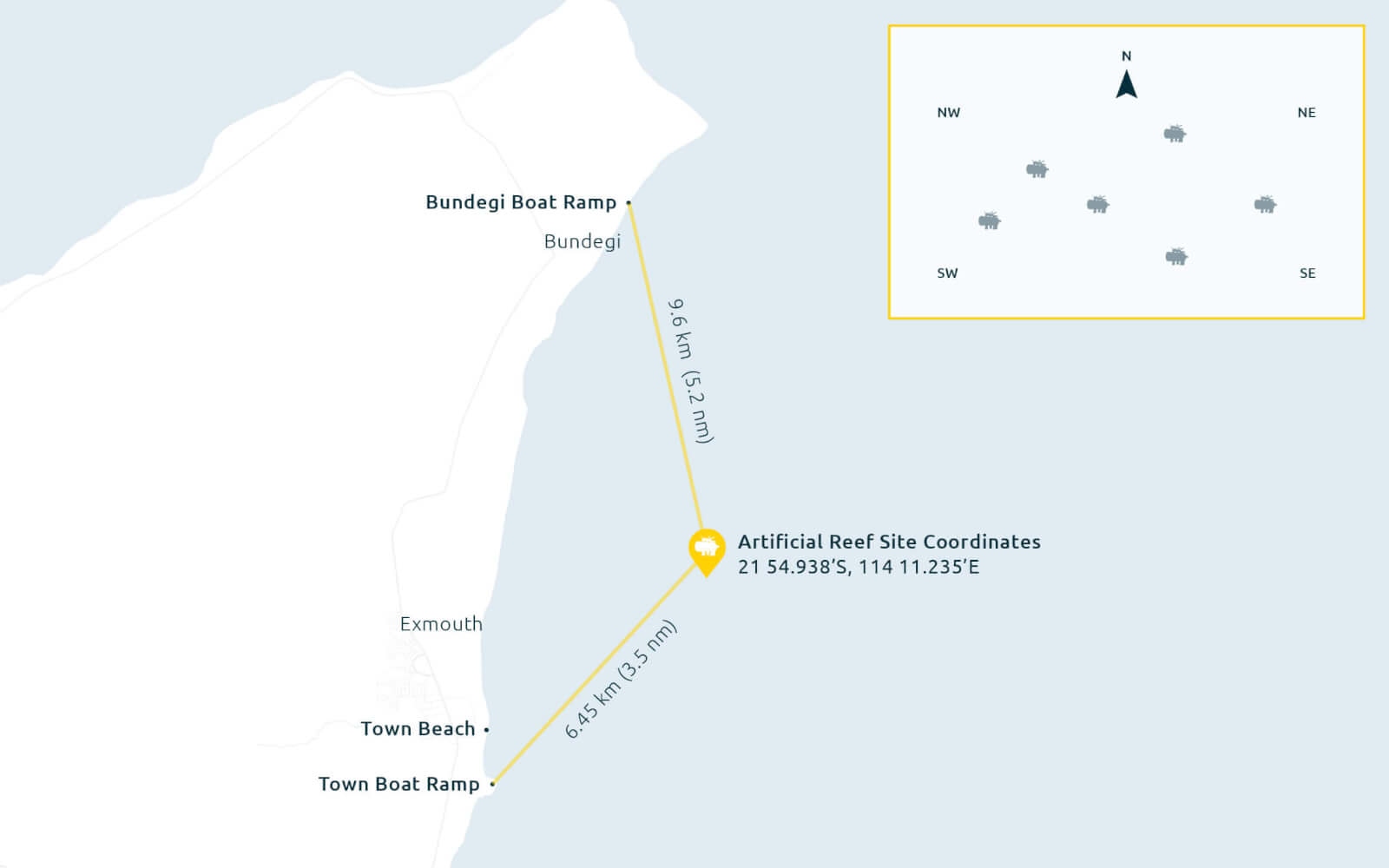 Exmouth artificial reef location
